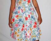 Vintage 1980s Halter Dress Floral Design