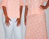 Vintage 1970s Skirt Set Peach with White Floral Design/ Plus Size