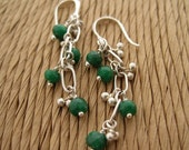 faceted emerald and sterling silver earrings