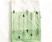 OOAK Arrows Screen Printed Dip Dyed Green Ombré Flour Sack Cotton Dish Cloth Black White