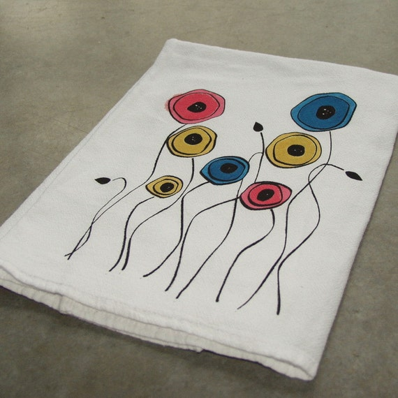 Poppies Screen Printed and Watercolored Flour Sack Cotton Dish Cloth Pink, Yellow and Blue Poppy Print
