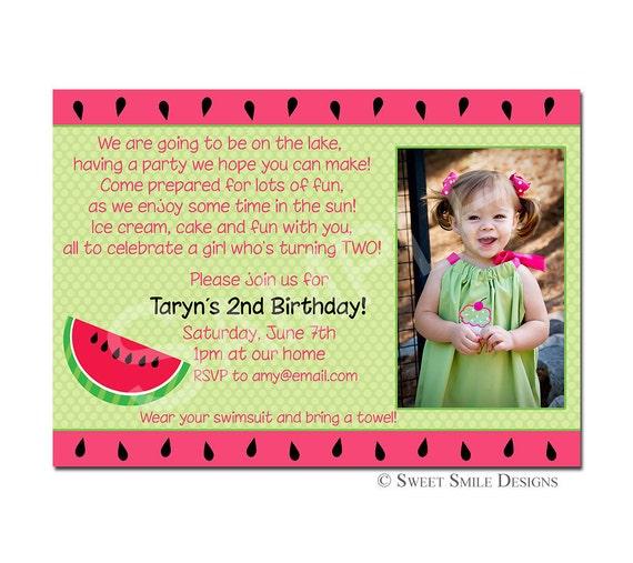 Items Similar To Photo Birthday Invitation, Watermelon