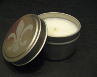 6 oz Fleur De Lis Soy-Blend Candle Tin - White Linen