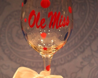 Ole Miss Wine Glass