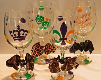Mardi Gras Wine Glasses - Set of 4