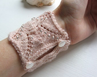 Made to order Hand Knit Pale Pink Merino Wool Wristlet Cuff Bracelet with Lace and Beading Detail