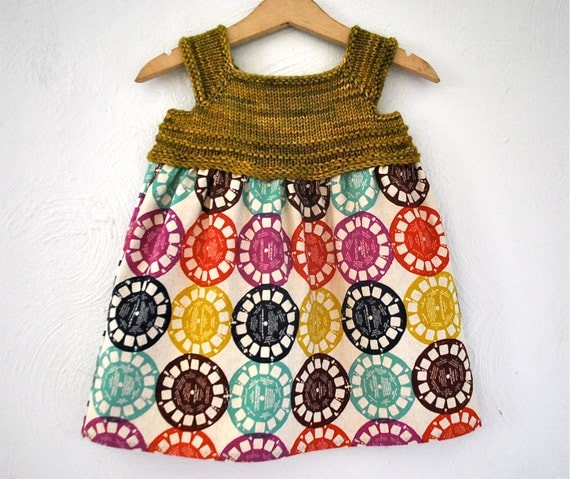 Olive and Reels Babydoll Sundress Hand Knit Merino Wool Bodice with Cotton Skirt 1-2 years