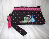 Quilted, Embroidered, Zippered Wristlet w/ detachable key fob strap