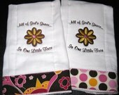 Burp Cloth Set of 2 - Baby Girl Brown Pink Floral Polka Dot Christian