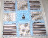 Rag Quilt & Embroidered Burp Cloths - Baby Boy PUPPY Brown Blue Stripe  Polka Dot Minky