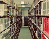 Library Photograph, Shelved, 11x14 Print, Neutral Colors, Minimal, Modern Home Decor