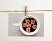 Photo Postcard, Coffee. ScrabbleTile Photograph, Art for your Kitchen, Neutral Colors, Minimal Print