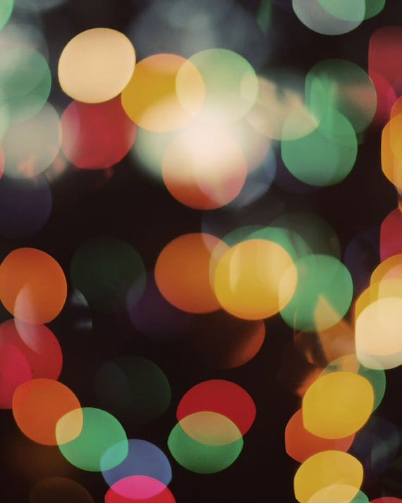 Abstract Photography, Modern Art Print, Colorful Lights, Bokeh, Black Background, Fine Art Photo, Minimal Home Decor, Red, Yellow