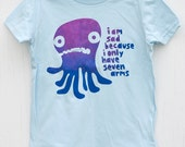 Sad Seven-Armed Octopus - hand printed silk-screened funny and cute kids shirt