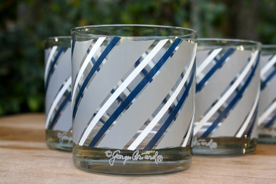GLASS SET - 6 Georges Briard vintage Blue and Gray Striped Cocktail Glasses