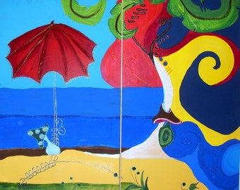 Red Umbrella Original Acrylic Painting