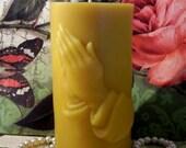 Beeswax Praying Hands Pillar Candle