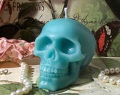 Beeswax Turquoise Blue Skull Candle
