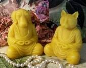 Beeswax Meditation Yoga Buddha Zen Cat OR Zen Dog Candle