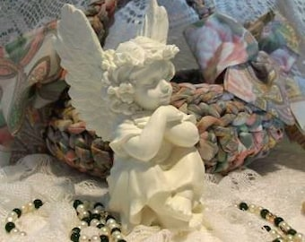White Beeswax Angel Cherub Candle