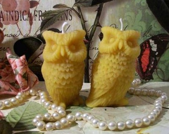2 Beeswax Owl Candles