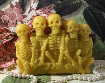 Beeswax Skeleton Pillar Candle Choice Of Color