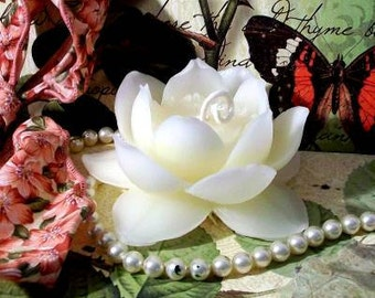 White Beeswax Lotus Flower Candle Water Lily