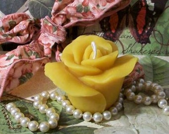 Beeswax Rose Candle Floating