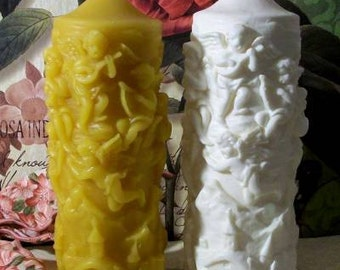 Beeswax Old Fashion German Angels Cherubs Over Village Candle