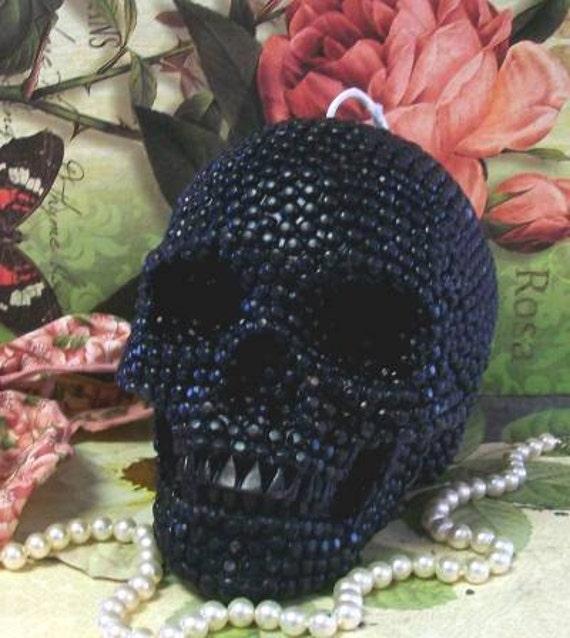 Beeswax Black Skull Pearl Beaded Skull Day of the Dead Sugar Skull dia de los Muertos