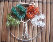 Four Seasons Tree - tree of life pendant wire wrapped with peridot, aventurine, carnelian, and quartz chips