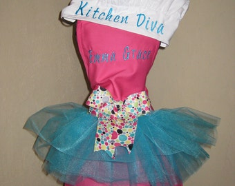 2 Kids Personalized Tutu Aprons & Chef Hats
