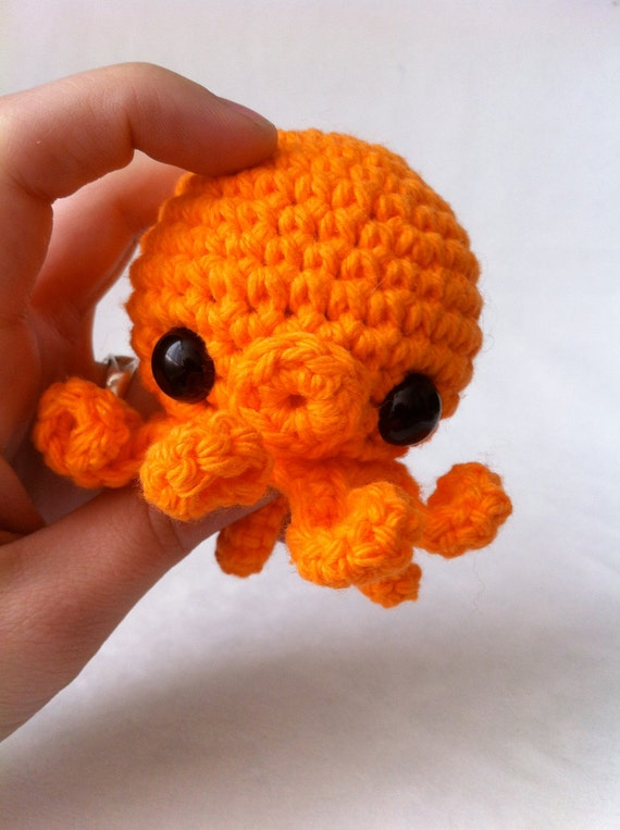 Orange amigurumi crochet octopus by leludallas on etsy