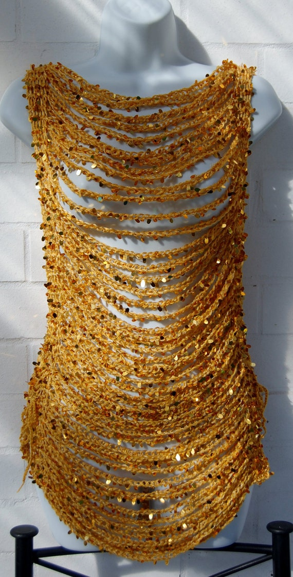 Custom Listing for Marla - Gold Sequined Crocheted Chain Stitch Vest ties at sides