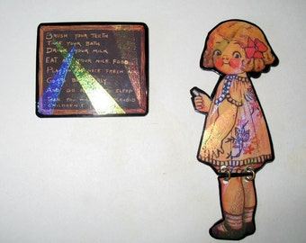 SALE  Charming Hand Crafted Set Pins School Girl & Chalkboard