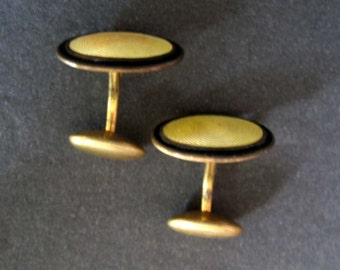 Vintage Yellow and Black Enamel Cuff Links