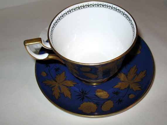 REDUCED  TREASURY FEATURED Vintage Blue and Gold Bone China Cup and Saucer