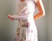floral wrap skirt spring COUNTRY GARDEN wildflower high waisted wrap- style skirt size m