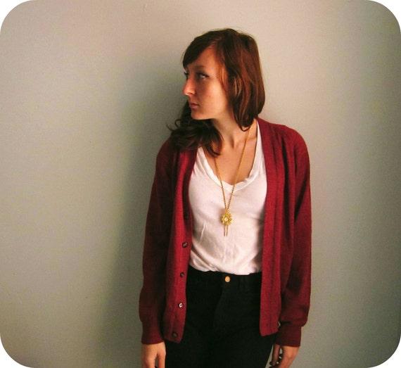 cardigan sweater in BRICK red wool unisex size xs - m