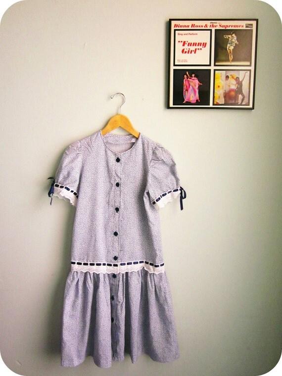 RESERVED vintage handmade dress floral TEA DRESS