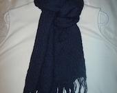 Navy blue alpaca/silk scarf or shawl