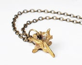 Vertebrae Bone Charm Necklace - from recycled bullet casings