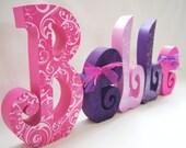 Baby Girl Childrens Decor Custom Letters set of 5