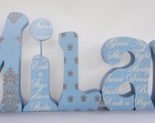 Items similar to baby boy wood letters hand painted any for Standing wood letters to paint