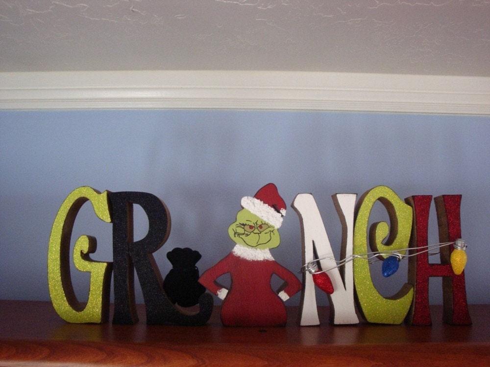 Christmas Home Decor Grinch Wood Letters Christmas Lights