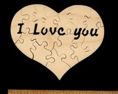 """I Love You Heart Puzzle HAND CUT wooden jigsaw with Secret Message 3.75"""" (10-15 pieces) for Valentine's Day, Birthdays etc"""