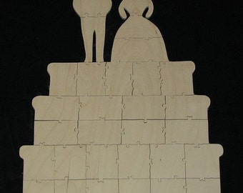 30 pc Wedding Cake Guest Book for Wedding or Anniversary - HAND CUT Wooden Jigsaw Puzzle Guest Book Alternative