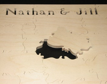"25-28 pc Wedding Puzzle Guest Book - Can CUSTOMIZE 9.5"" X 16"" HAND CUT Wooden Jigsaw"