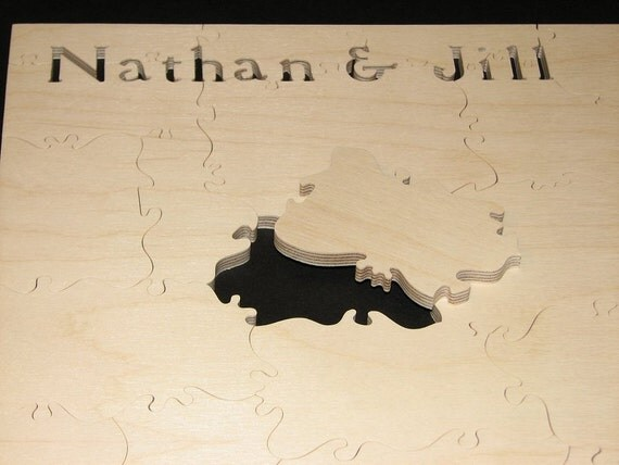 """25-28 pc Wedding Puzzle Guest Book - Can CUSTOMIZE 9.5"""" X 16"""" HAND CUT Wooden Jigsaw"""
