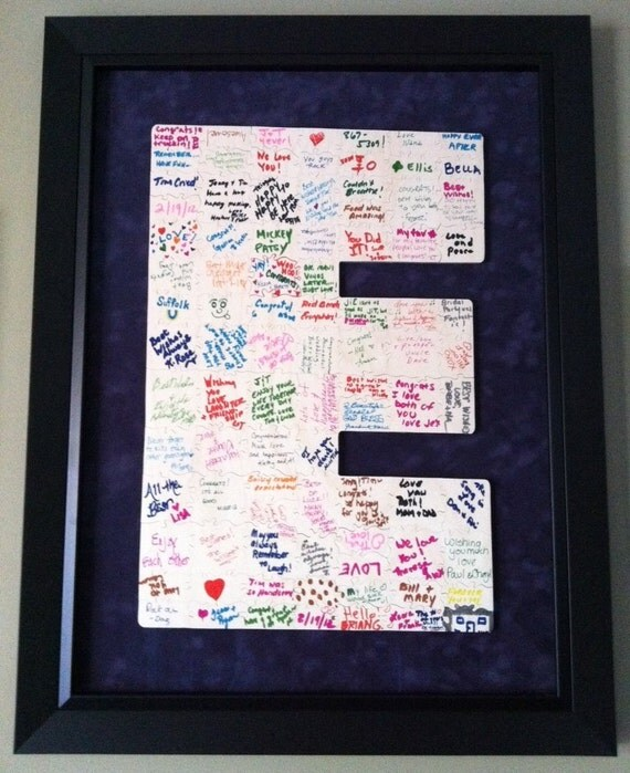 90 pc Wedding Guest Book Puzzle CUSTOMIZED with INITIAL Hand Cut